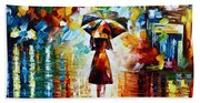 Rain Princess - Palette Knife Landscape Oil Painting On Canvas By Leonid Afremov Bath Towel