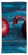 Red Onions Bath Towel by Nailia Schwarz