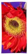 Red Sunflower Bath Towel