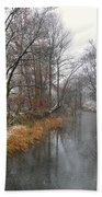 River With Snow Bath Towel