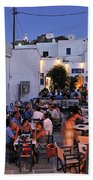 Serifos Town During Dusk Time Bath Towel