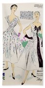 Vintage Fashion Sketches And Fabric Swatches Bath Towel