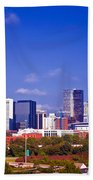 Skyline Of Uptown Charlotte North Carolina At Night Bath Towel