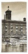 St Katherine's Dock London Sketch Bath Towel