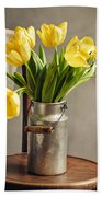 Still Life With Yellow Tulips Bath Towel