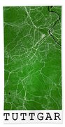 Stuttgart Street Map - Stuttgart Germany Road Map Art On Colored Bath Towel