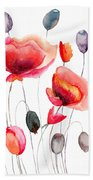 Stylized Poppy Flowers Illustration  Bath Towel