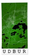 Sudbury Street Map - Sudbury Canada Road Map Art On Colored Back Bath Towel