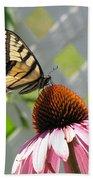 Tiger Swallowtail On Coneflower Bath Towel