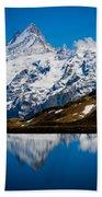 Swiss Alps - Schreckhorn Reflection Bath Towel