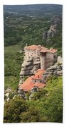 The Holy Monastery Of Rousanou Meteora Greece  Bath Towel