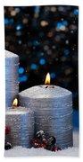 Three Silver Candles In Snow  Bath Towel