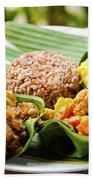 Traditional Vegetarian Curry With Rice In Bali Indonesia Bath Towel