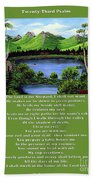 Twin Ponds And 23 Psalm On Green Bath Towel