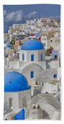White Buildings With Steep Slope Bath Towel