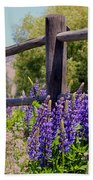 Wildflowers On The Fence Bath Towel