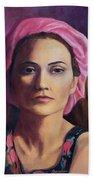 Woman In A Pink Turban Bath Towel