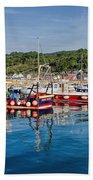 Lyme Regis Harbour Bath Towel