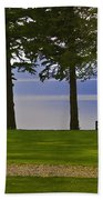 A Bench And Path On The Shore Of Loch Ness In Scotland Bath Towel