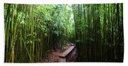 Boardwalk Passing Through Bamboo Trees Hand Towel