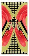 Dancing Tulip Red Exotic Flower Petal Based Wave Pattern  Created By Navinjoshi Reiki Healing Master Bath Towel