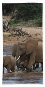 Elephants Crossing The River Bath Towel