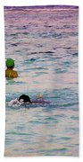 Enjoying The Water In The Coral Reef Lagoon Bath Towel