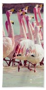 Flamingos On Lake In Andes Bath Towel