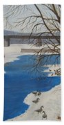 Geese On The Grand River Bath Towel