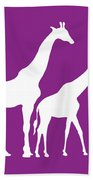 Giraffe In Purple And White Bath Towel