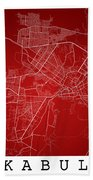 Kabul Street Map - Kabul Afghanistan Road Map Art On Colored Bac Bath Towel