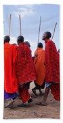 Maasai Men In Their Ritual Dance In Their Village In Tanzania Bath Towel