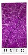 Munich Street Map - Munich Germany Road Map Art On Colored Backg Bath Towel