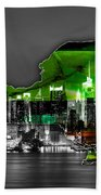 New York Map And Skyline Watercolor Bath Towel
