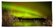 Northern Lights Mirrored On Lake Bath Towel