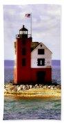 Round Island Lighthouse Straits Of Mackinac Michigan Bath Towel