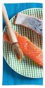 Salmon Fillets Bath Towel