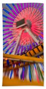 Santa Monica Pier Ferris Wheel And Roller Coaster At Dusk Bath Towel