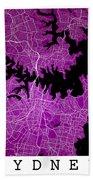 Sydney Street Map - Sydney Australia Road Map Art On Colored Bac Bath Towel