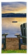 Wooden Chairs At Sunset On Beach Bath Towel