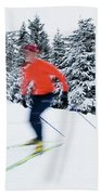 A Young Woman Cross-country Skiing Bath Towel
