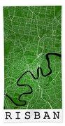 Brisbane Street Map - Brisbane Australia Road Map Art On Colored Bath Towel