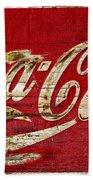 Coca Cola Sign Cracked Paint Bath Towel