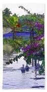 Ducks And Flowers In Lagoon Water Bath Towel