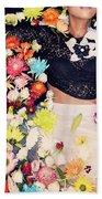 Fashion Model Posing With Flowers Bath Towel