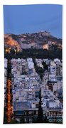 Lycabettus Hill During Dusk Time Bath Towel