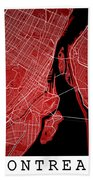 Montreal Street Map - Montreal Canada Road Map Art On Colored Ba Bath Towel
