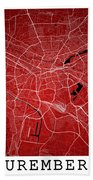 Nuremberg Street Map - Nuremberg Germany Road Map Art On Colored Bath Towel