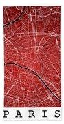 Paris Street Map - Paris France Road Map Art On Colored Backgrou Bath Towel