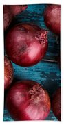Red Onions Bath Towel by Nailia Schwarz